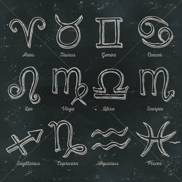Zodiac Signs On Chalkboard Background - Vectorsforall