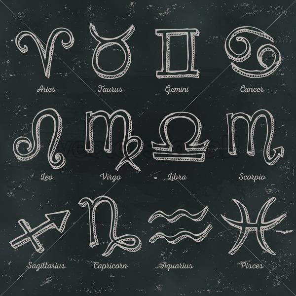 Zodiac Signs On Chalkboard Background - Vectorsforall