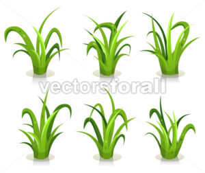 cartoon-funny-blades -of-grass-leaves-set-III - Vectorsforall