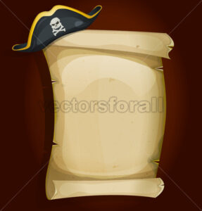 cartoon-funny-pirate-hat-on-parchment-sign - Vectorsforall