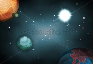 cartoon-funny-space-landscape-background - Vectorsforall