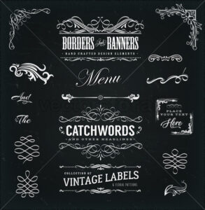 Calligraphic Frames And Banners On Chalkboard - Vectorsforall