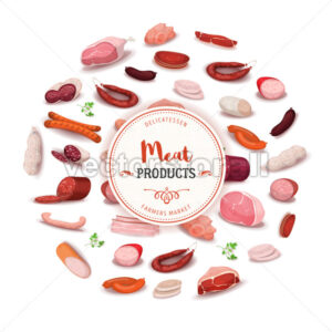 Delicatessen Meat Products Banner - Vectorsforall