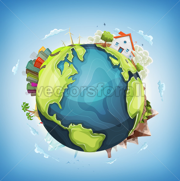 Earth Planet Background With House and Nature - Vectorsforall