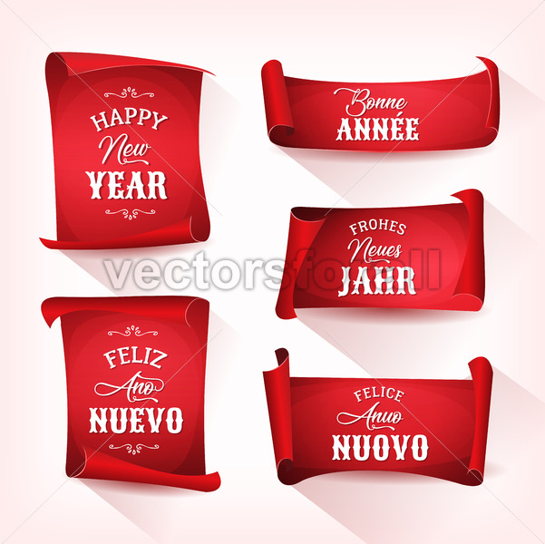 Happy New Year In Multilanguage On Red Parchments - Vectorsforall