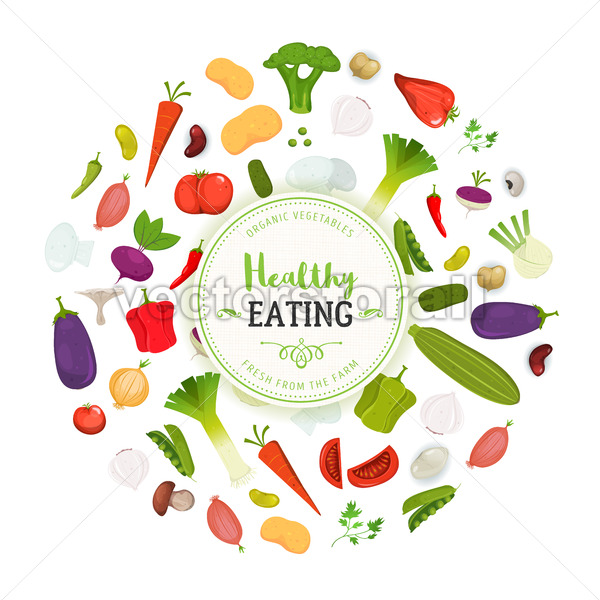 Healthy Eating And Vegetables Background - Vectorsforall