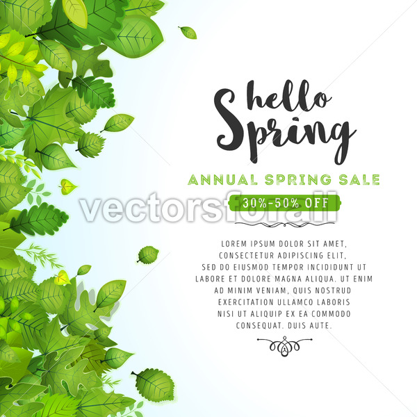 Hello Spring Leaves Background - Vectorsforall
