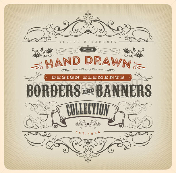 Vintage Calligraphy Banner With Ornaments - Vectorsforall