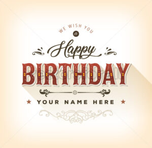 Vintage Happy Birthday Card - Vectorsforall