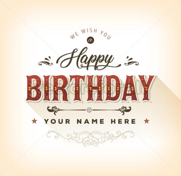 Vintage Happy Birthday Card - Vectorsforall