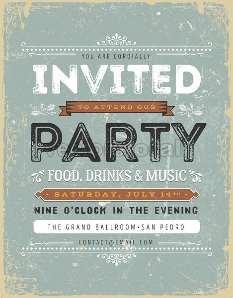 Vintage Invitation Sign - Vectorsforall