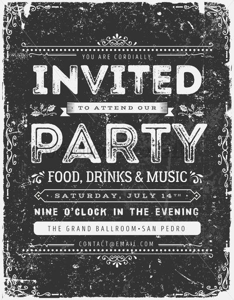 Vintage Invitation Sign On Chalkboard - Vectorsforall