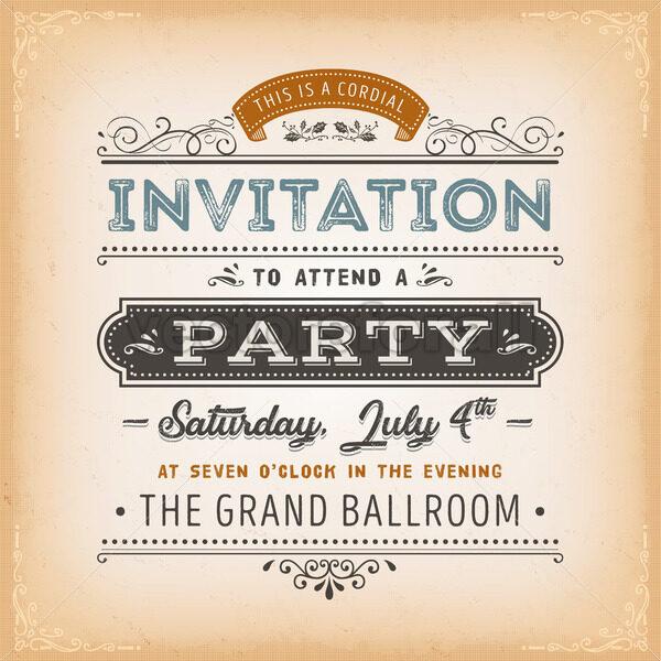 Vintage Invitation To A Party Card - Vectorsforall