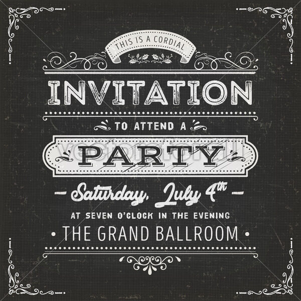 Vintage Party Invitation Card On Chalkboard - Vectorsforall