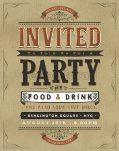 Vintage Party Invitation Sign - Vectorsforall