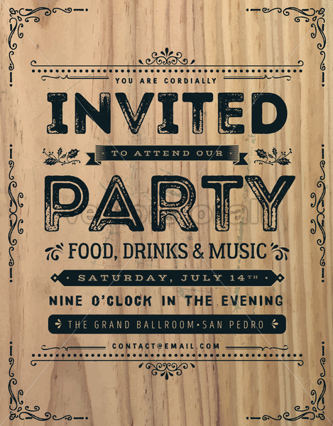 Vintage Party Invitation Sign - Vectorsforall