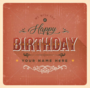 Vintage Red Happy Birthday Card - Vectorsforall