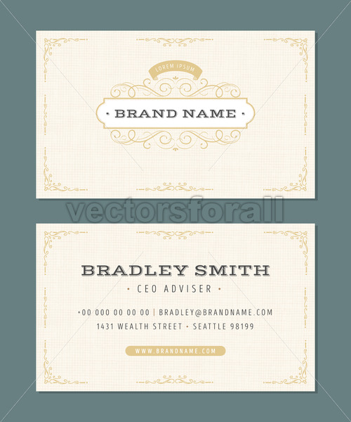 Business Card With Vintage Ornaments - Vectorsforall