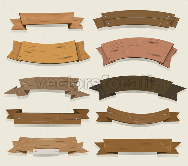 Cartoon Wooden Ribbons And Banners - Vectorsforall