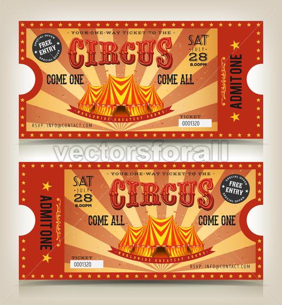 Vintage Circus Entry Tickets - Vectorsforall