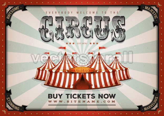 Vintage Circus Poster Background - Vectorsforall