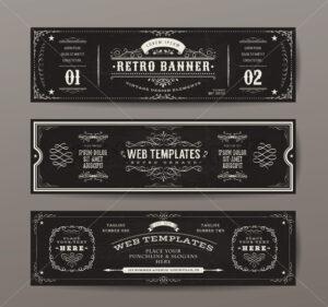 Vintage Web Banners Templates Set - Vectorsforall