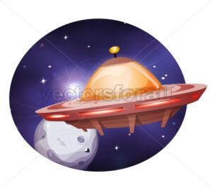 Alien Spaceship Traveling On Space Background - Vectorsforall