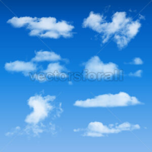 Clouds Shapes On Blue Sky Background - Vectorsforall