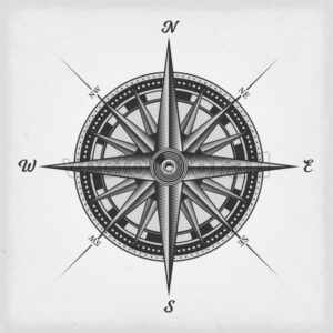 Compass Rose Black And White - Vectorsforall