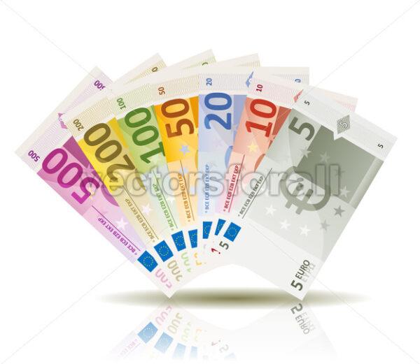 Euro Money Bills Set - Vectorsforall