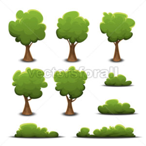 Forest Trees, Bush And Hedges - Vectorsforall