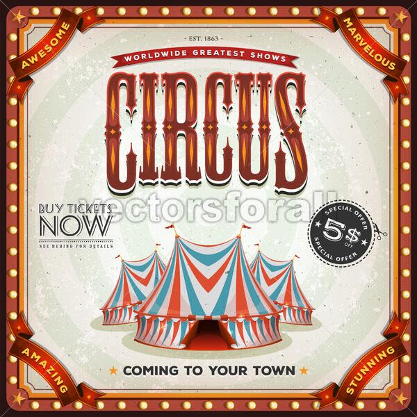 Grunge Square Circus Poster - Vectorsforall