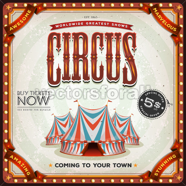 Grunge Square Circus Poster - Vectorsforall