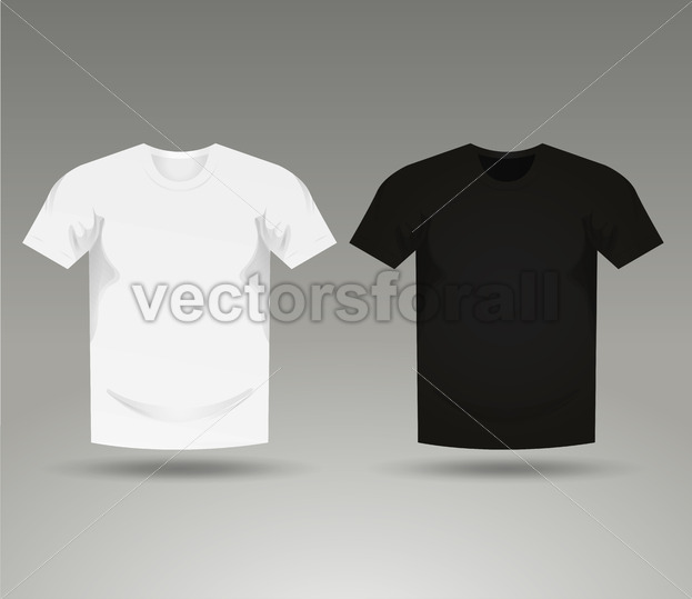Mens Black And White Blank T-Shirt Templates - Vectorsforall
