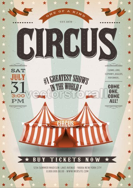 Retro And Grunge Circus Background - Vectorsforall