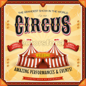 Square Circus Poster With Frame - Vectorsforall