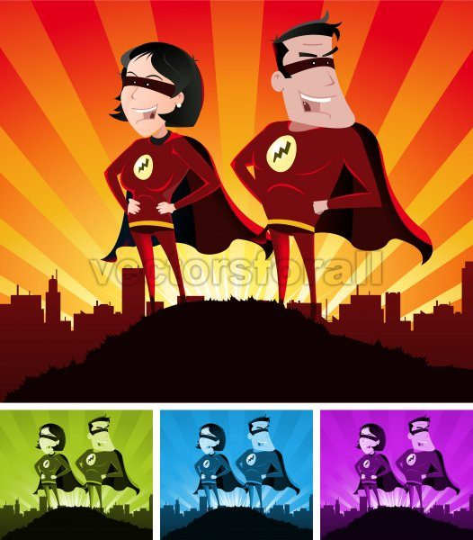 Super Heroes Male And Female - Vectorsforall
