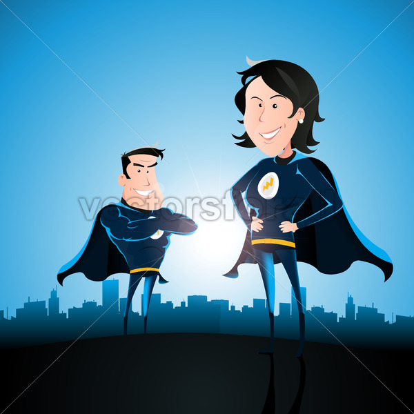 Superhero Couple With Woman And Man - Vectorsforall
