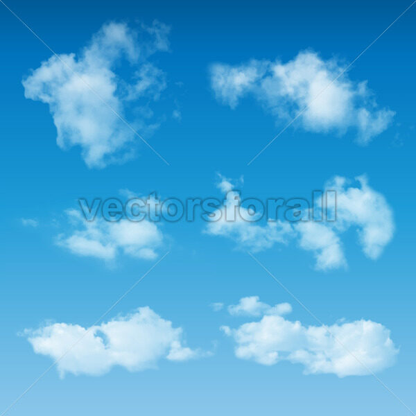 Transparent Realistic Clouds On Blue Sky - Vectorsforall