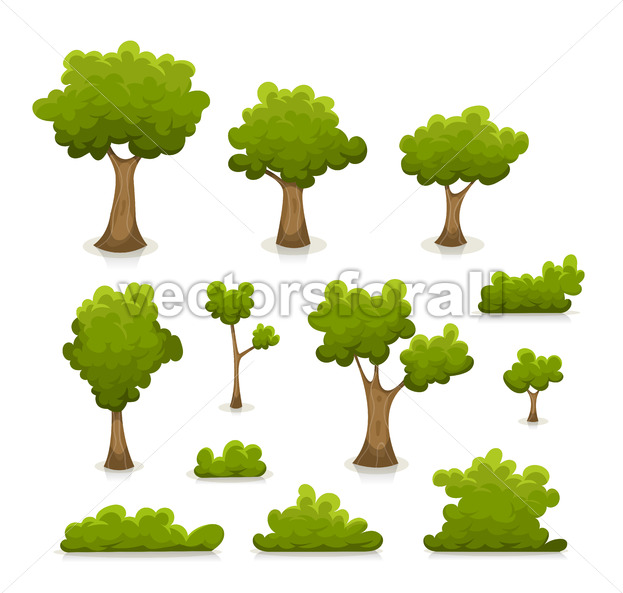 Trees, Hedges And Bush Set - Vectorsforall