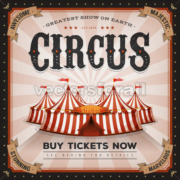 Vintage And Grunge Circus Poster - Vectorsforall