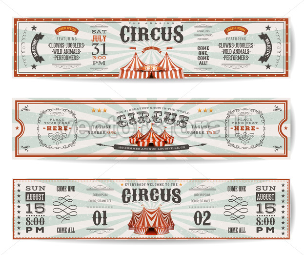Vintage Circus Website Banners Templates - Vectorsforall