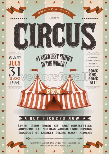 Vintage Grunge Circus Poster - Vectorsforall