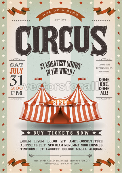 Vintage Grunge Circus Poster - Vectorsforall