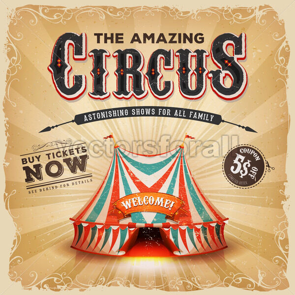 Vintage Old Circus Square Poster - Vectorsforall