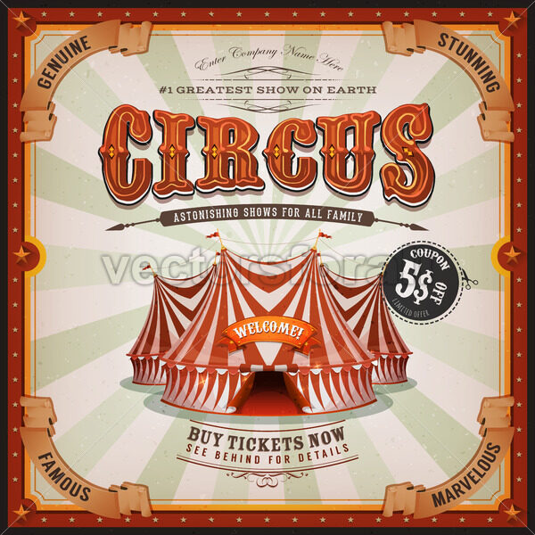 Vintage Old Square Circus Poster - Vectorsforall