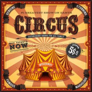 Vintage Square Circus Poster - Vectorsforall