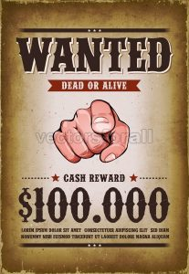 Vintage Wanted Western Poster - Vectorsforall