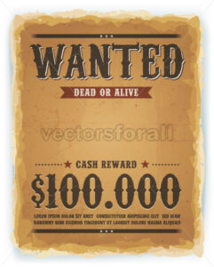 Wanted Poster On Vintage Paper Background - Vectorsforall