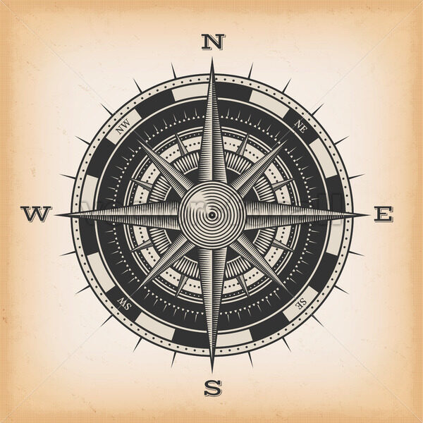 Wind Rose Compass On Vintage Background - Vectorsforall